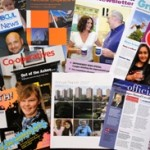 Photo of magazines that have been produced by Ethos public relations