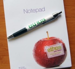Photo of Ethos public relations pen and notepad