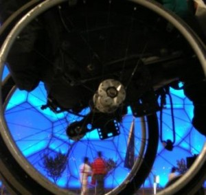 Photo of wheelchair wheel - disabled access consultancy